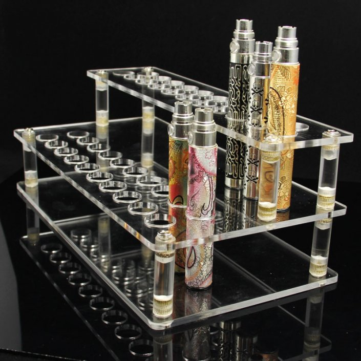 B002 Acrylic Vape Stand E Cigarette Holder With 41 Holes For Batteries & Atomizers