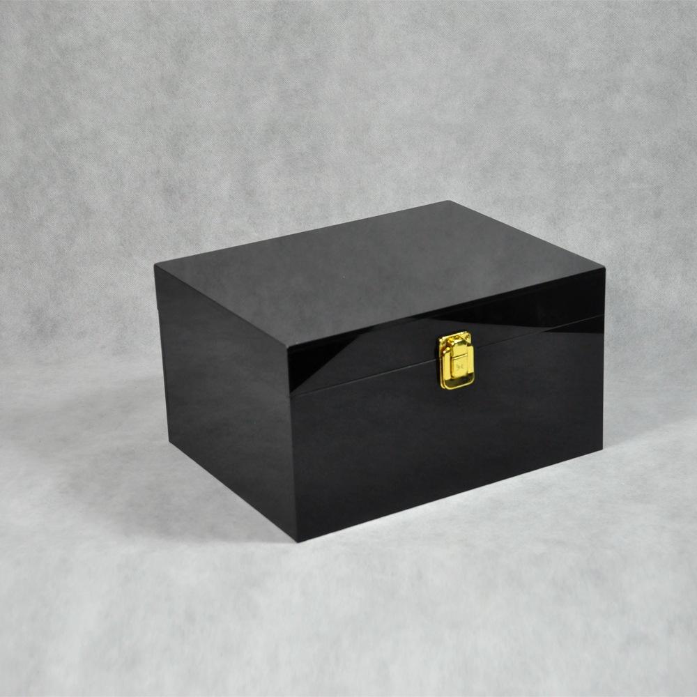 Black Locking Acrylic Jewelry Box CY 1857 1