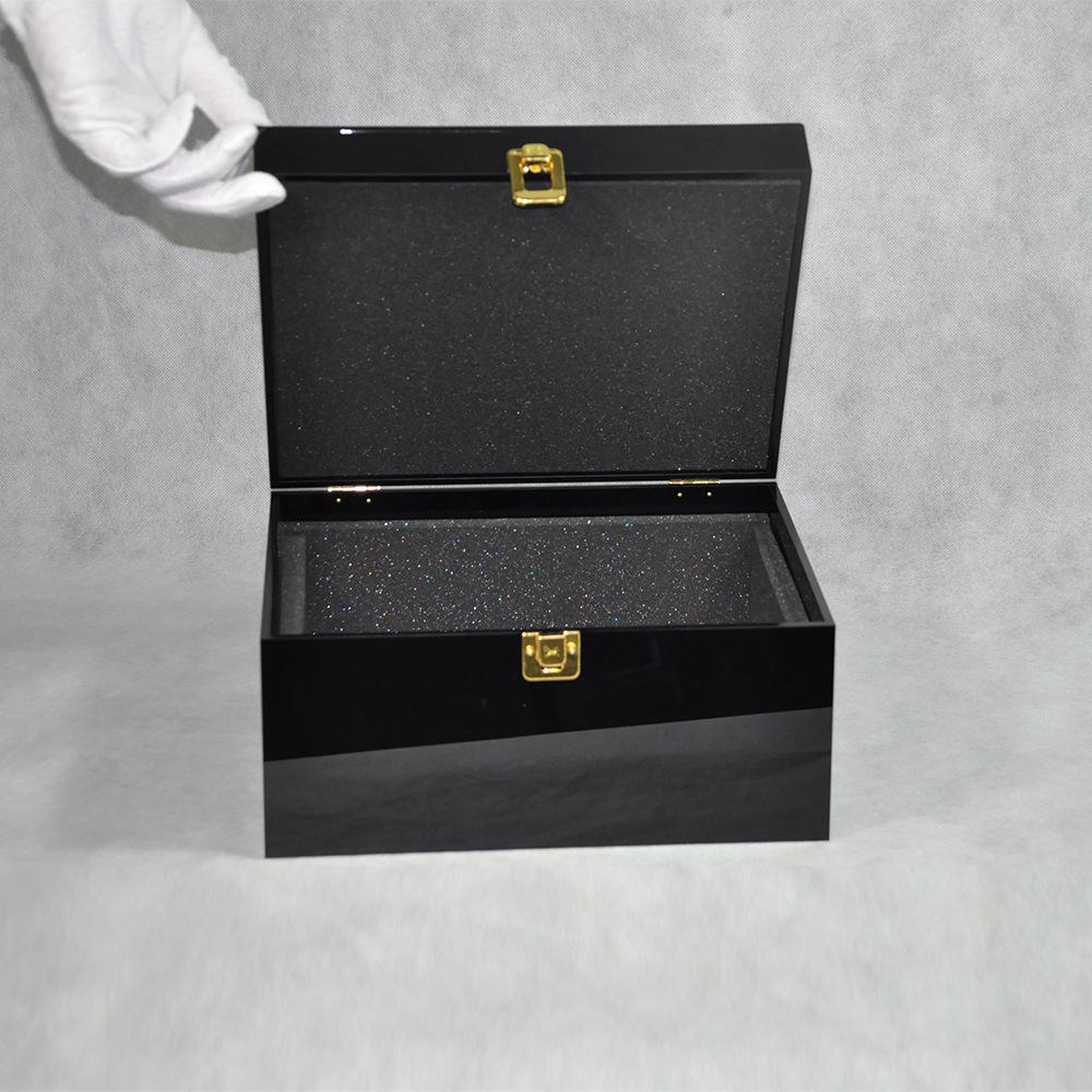 Black Locking Acrylic Jewelry Box CY 1857 2