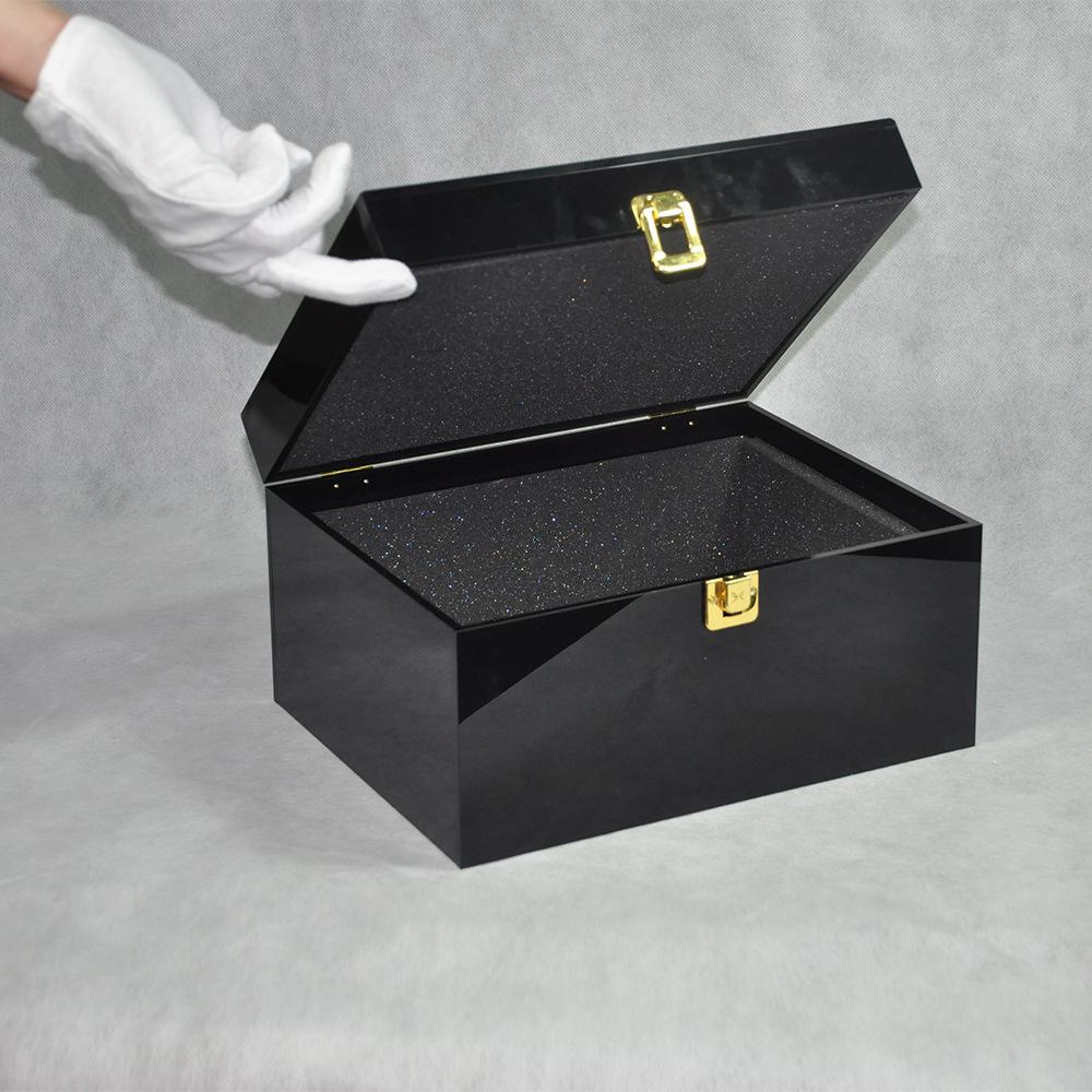 Black Locking Acrylic Jewelry Box CY 1857 5