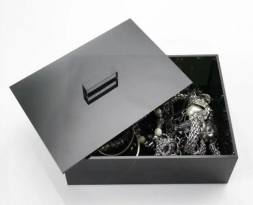 Black Acrylic Box with Lid Count Display Box Display Case