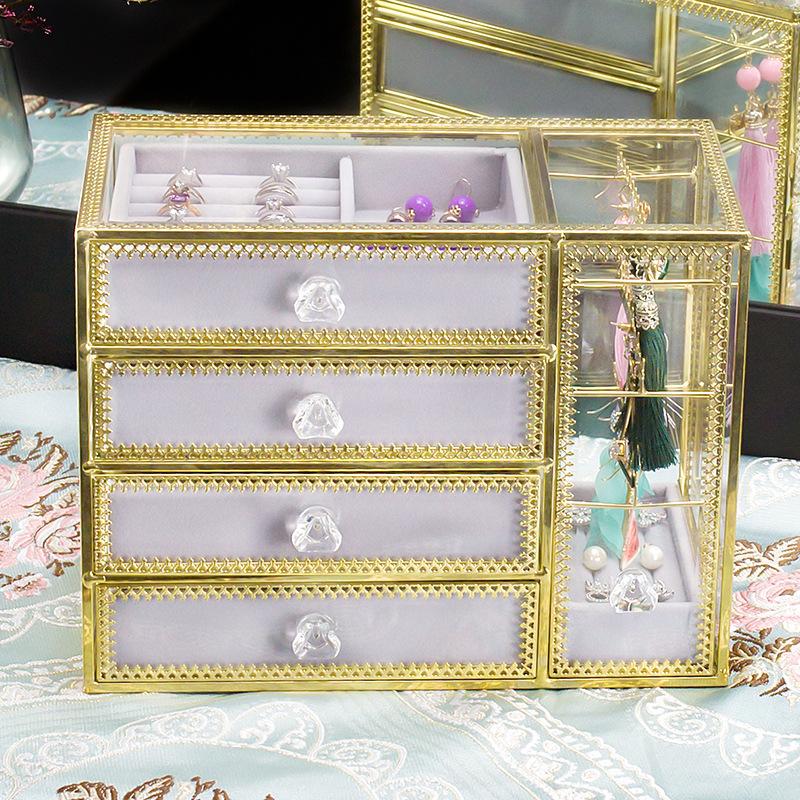 4-trays glass jewellery box SN06 1