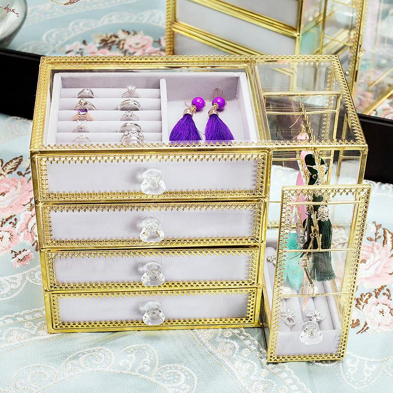 4-trays glass jewellery box SN06 2