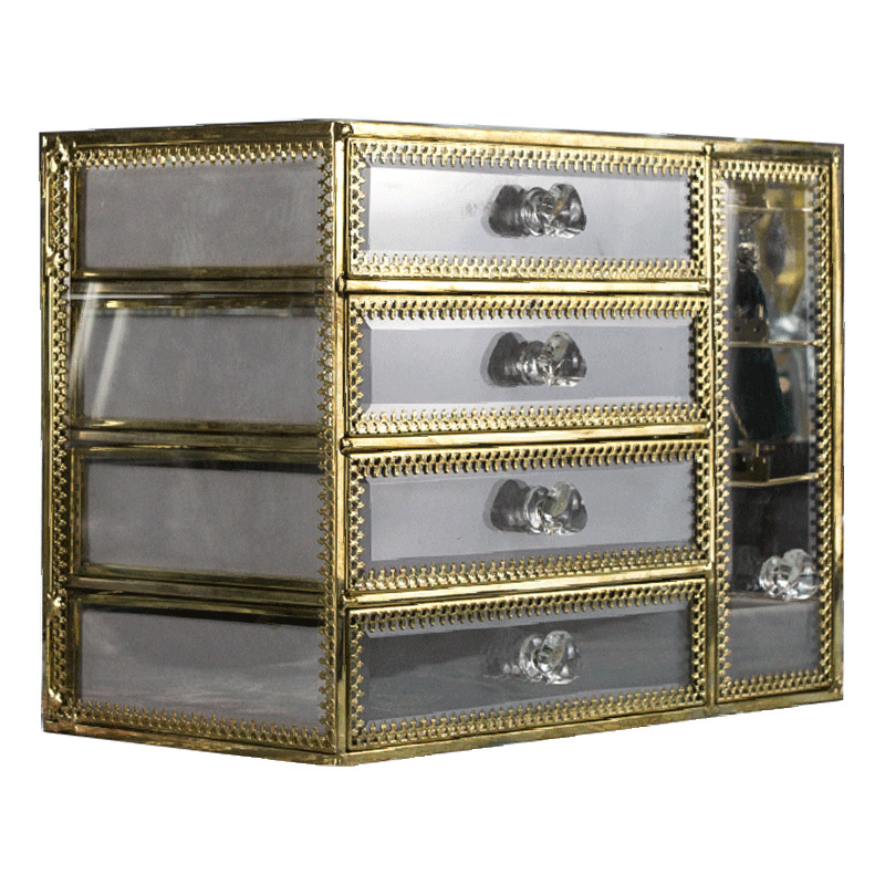 4-trays glass jewellery box SN06 3