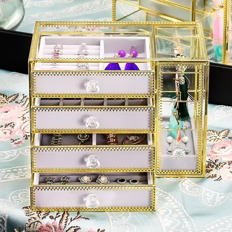 4-trays glass jewellery box SN06 4