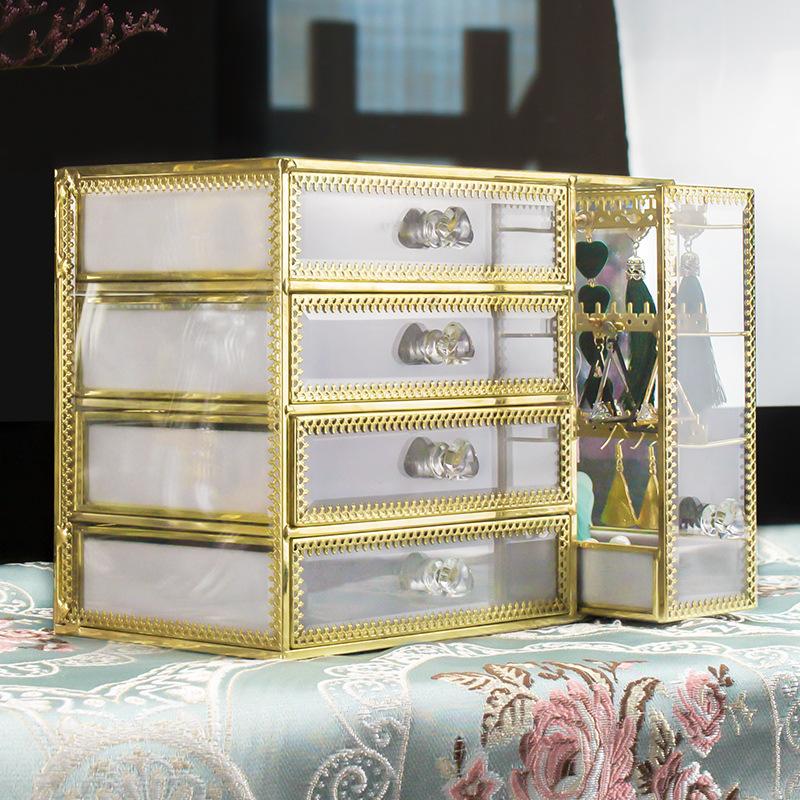 4-trays glass jewellery box SN06 5