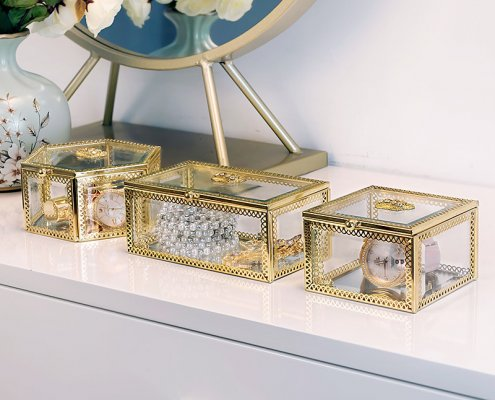 Glass Jewelry Display Box with Lid Jewellery Window Display