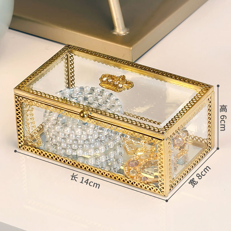 Glass Jewelry Display Box with Lid