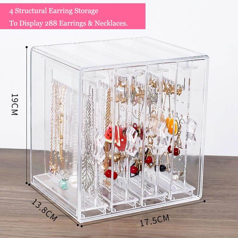 Necklace and earring display earring rack