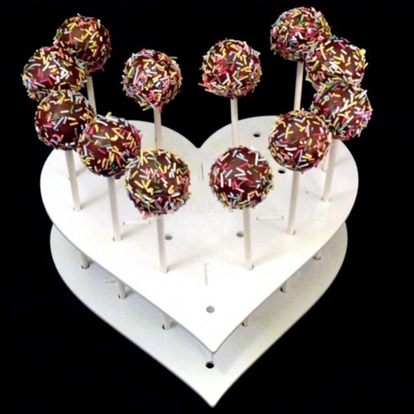 Sweet Heart Shape Acrylic Cake POP Display