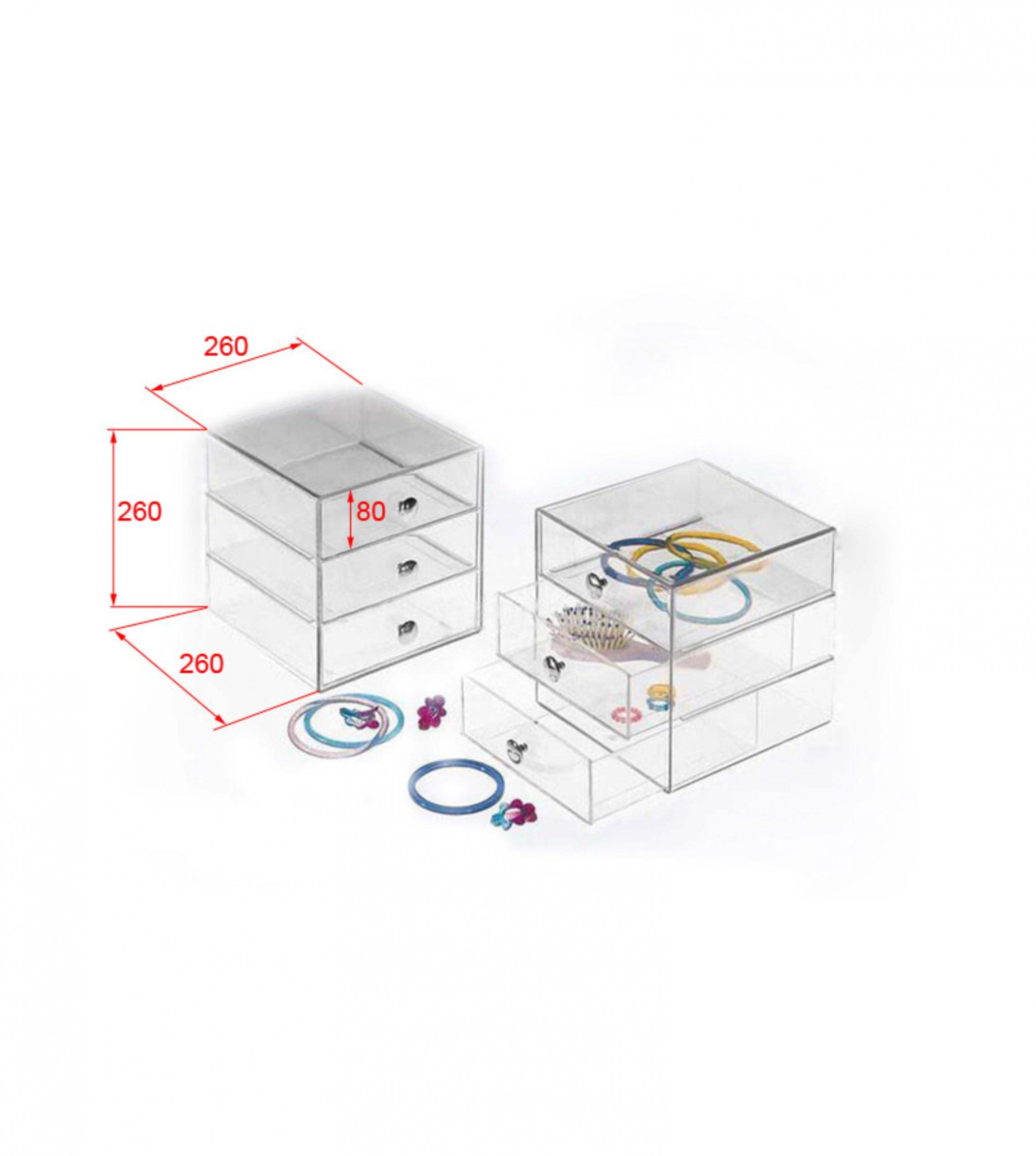3 Levels Transparent Acrylic Jewelry Box jewelry display drawers
