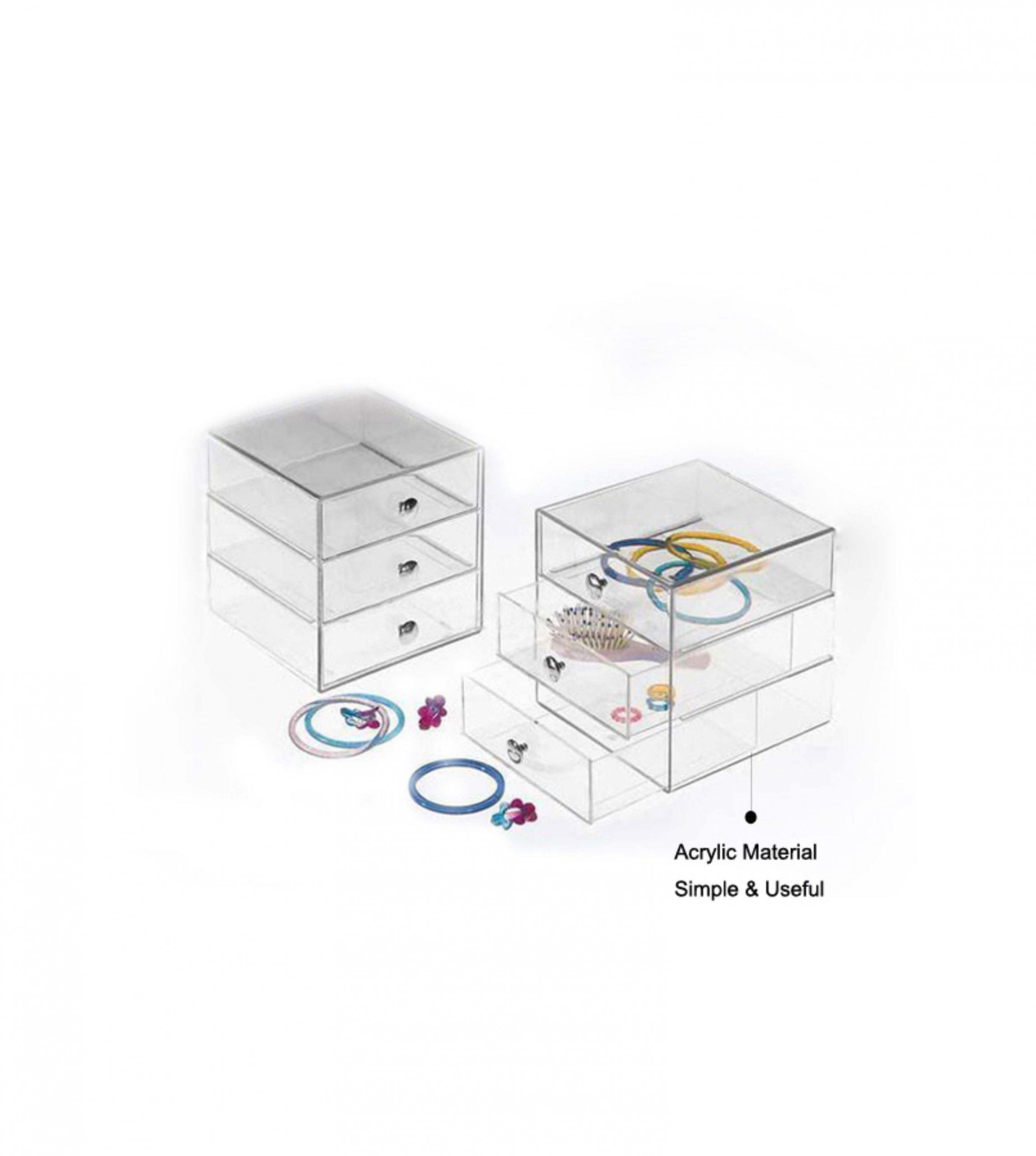 3 Levels Transparent Acrylic Jewelry Box jewelry showcase display sets