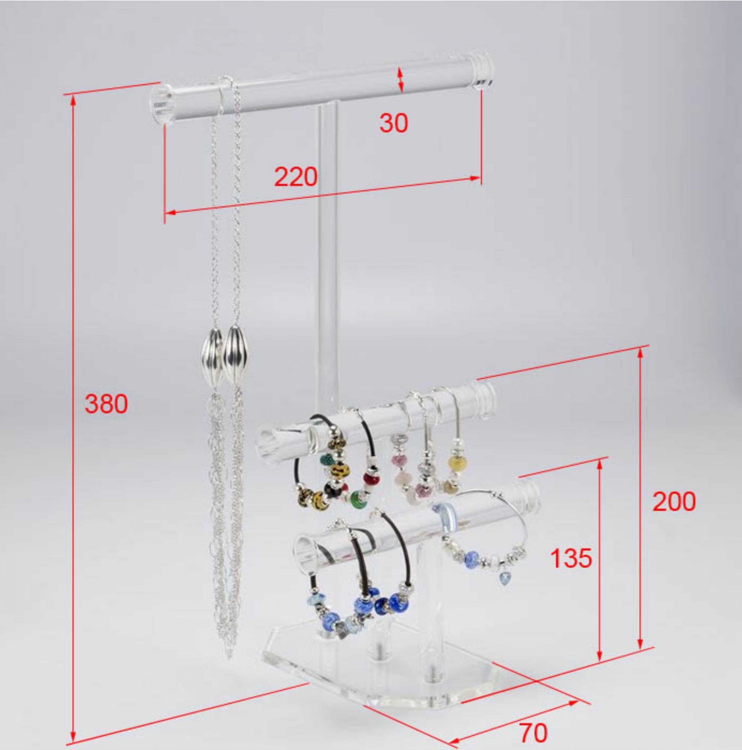 Portable Acrylic Jewelry Display Rods Stand necklace and bracelet stand