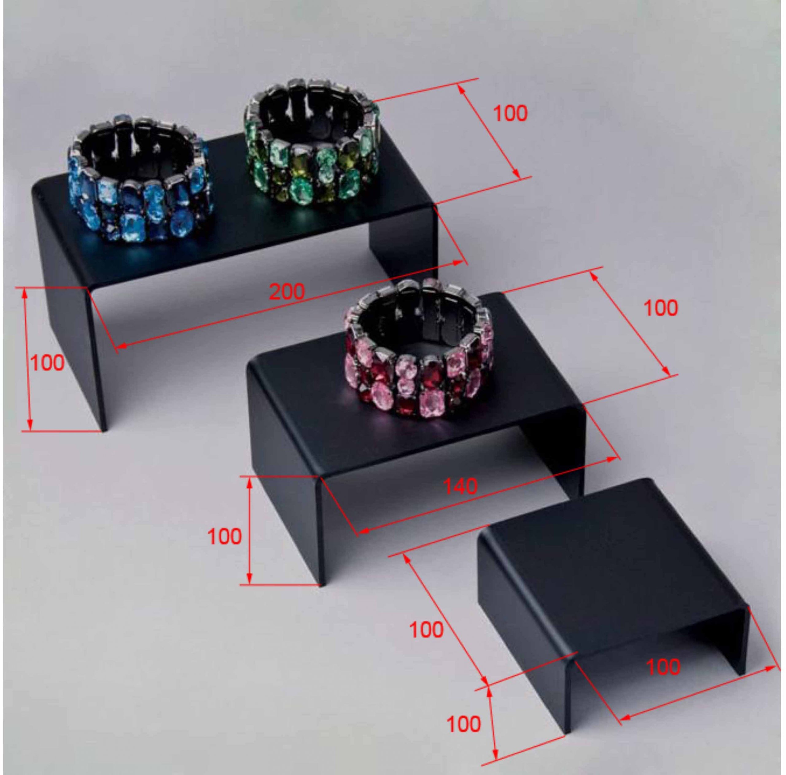 black acrylic ring display risers jewellery shop display