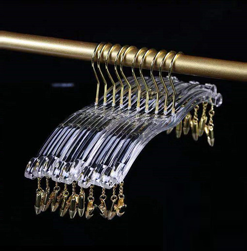 Acrylic Lingerie Hangers with Golden Hook
