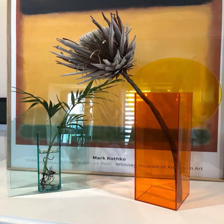 acrylic square flower vase