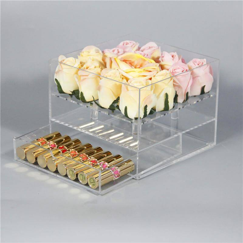 Square acrylic flower box with lid & drawer for 16 roses