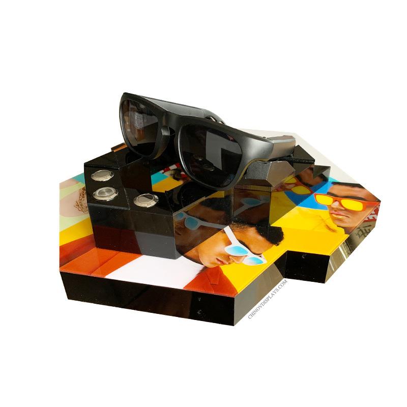 Custom Size Acrylic Dispay Box With Black Base Bluetooth Eyewear Wireless Earphone POP Stand