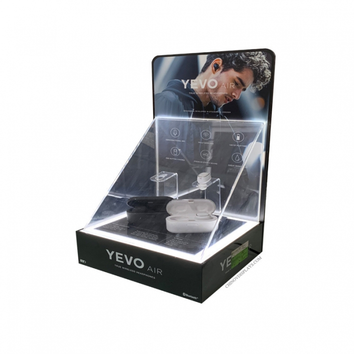 Custom Acrylic Display Case Box With Black Base Dust-free Countertop Sports Earphone Stand