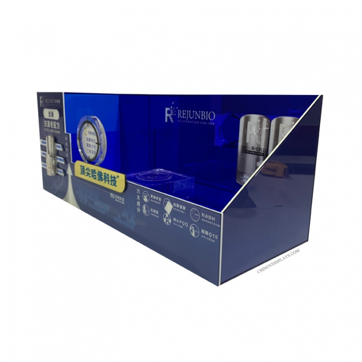 Custom Acrylic Display Case Cosmetic Skincare Plexiglass POP Stand