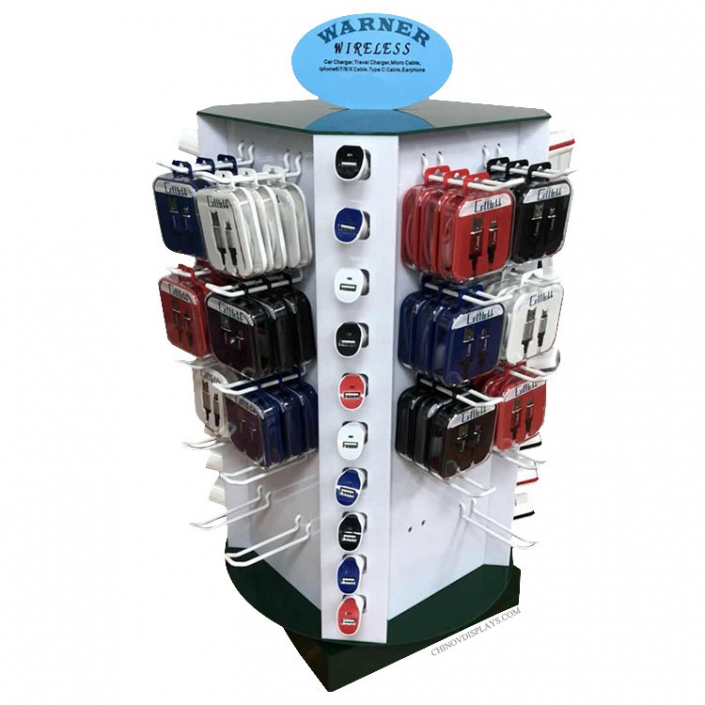 Custom Acrylic Display Case Electronic Products USB Cable Revolving Stand
