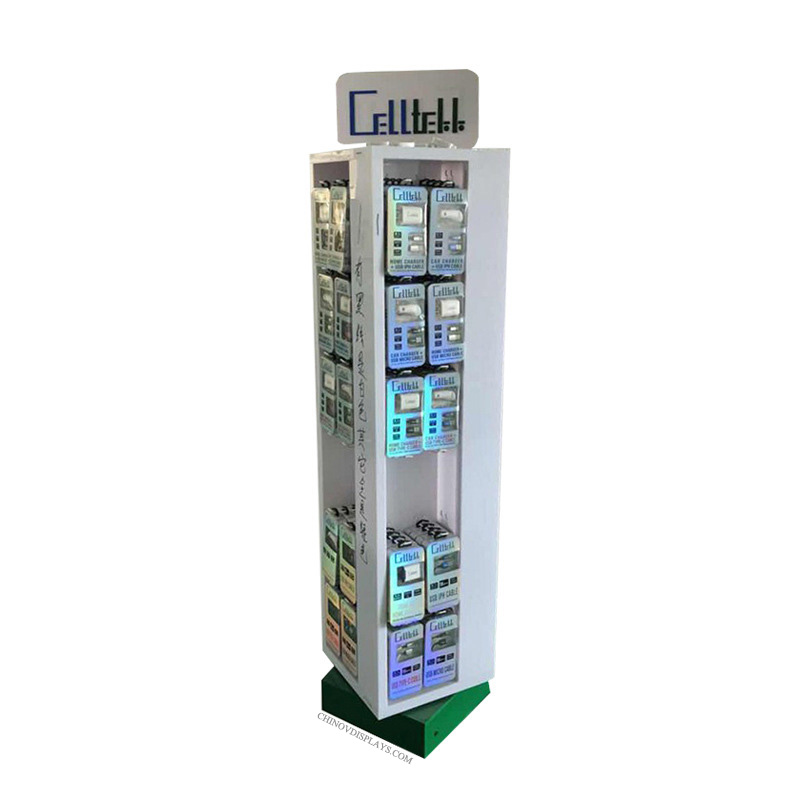 Custom Acrylic Display Case Floor-standing USB Cable Power Bank Charger Showcase Cabinet
