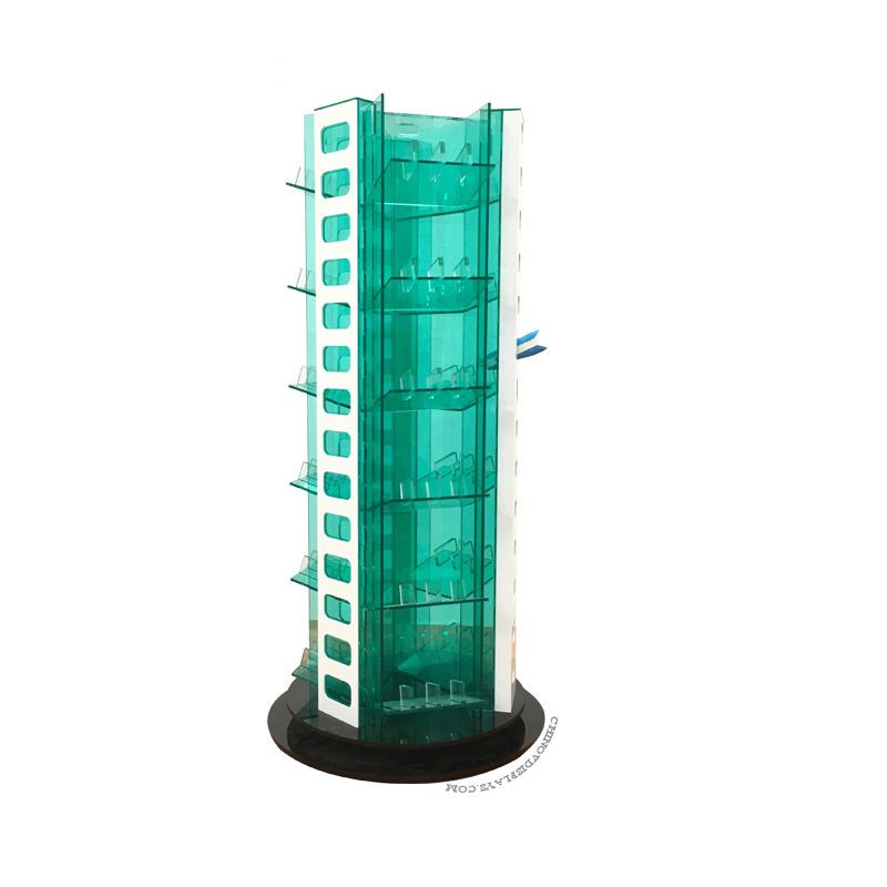 Custom Acrylic Display Case LED Revolving Car Charger 3C Mobile Accessories POP Stand