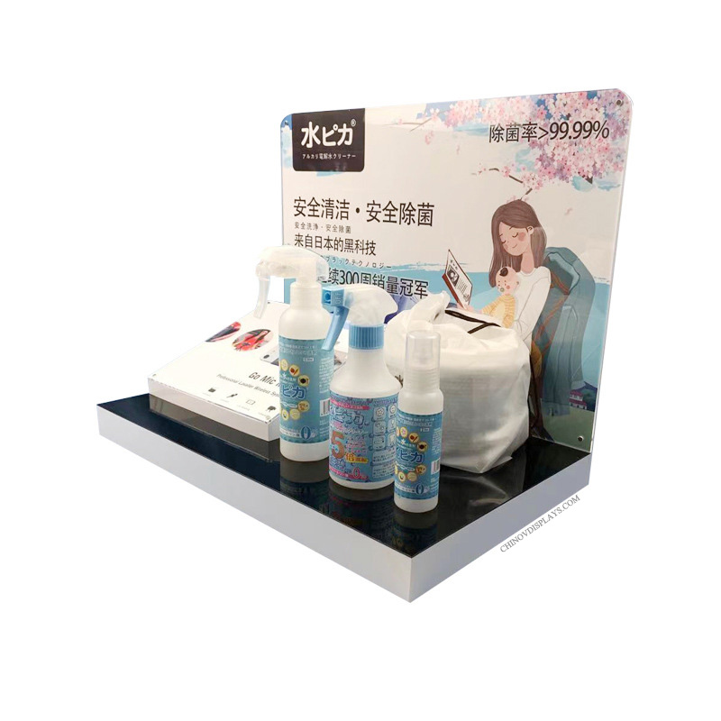 Custom Acrylic Display Stand Daily Living Supplies Skincare POP Display For Supermarket