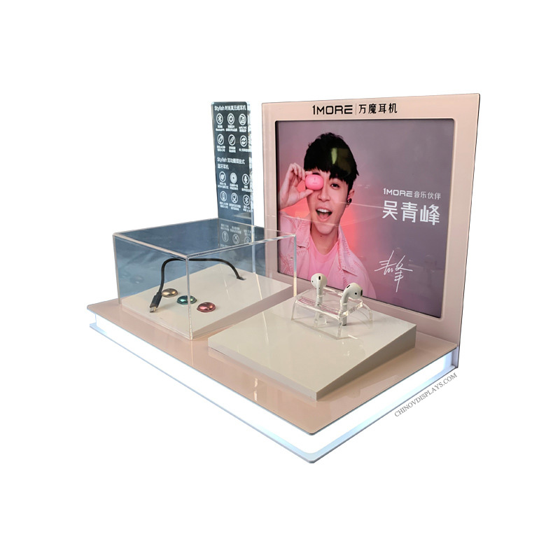 Custom POP Display Bluetooth Earphone Acrylic Display With LED Lighting Base
