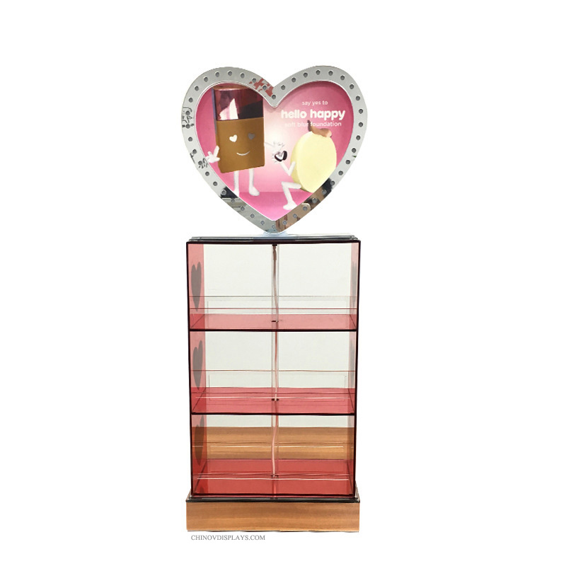 Custom POP Display Case Acrylic Makeup Lipstick Showcase Cabinet