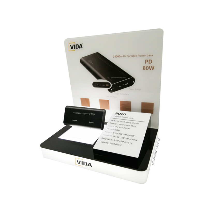 Custom POP Display Mobile Phone Portable Charger Power Bank Acrylic Stand