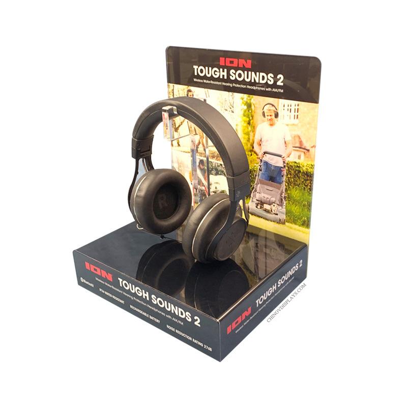 Custom Size Acrylic Dispay Box With Black Base Bluetooth Headset POP Stand