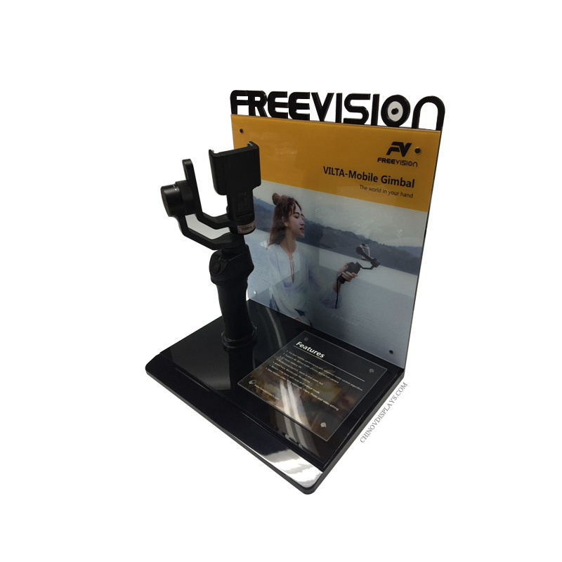 Customized Acrylic Display Handheld PTZ Selfie Stick Holder Stand