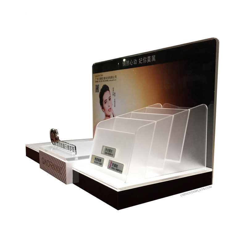Customized Plexiglass Cosmetic Display Personal Care Products POP Stand