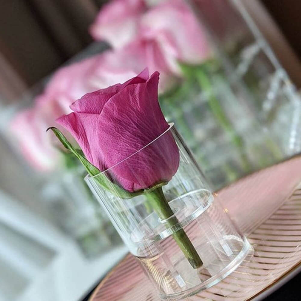 Round acrylic flower box for holding one piece of rose with stem