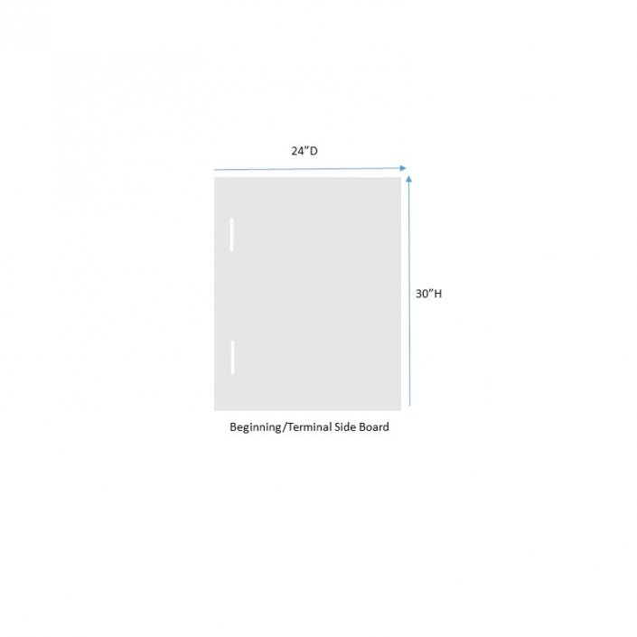 """24"""" beginning terminal side board of the acrylic sneeze guard"""