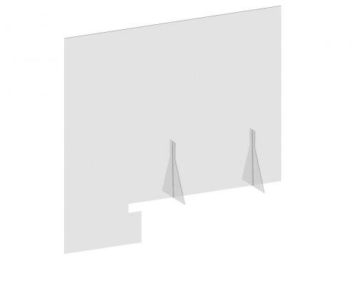 "Table Top Plexiglass Shield 33.5""W x 35.5""H For Office Desk"