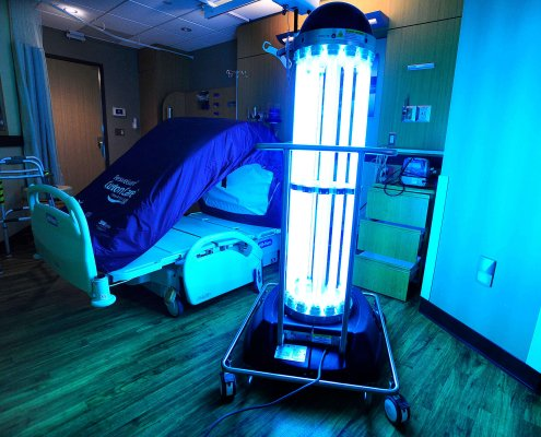 uv germicidal light disinfection in the hospital