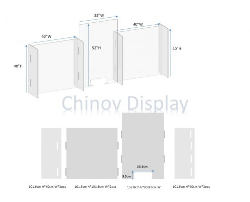 Custom Plexiglass Sneeze Guard For Countertop