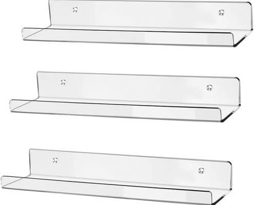 "Clear Acrylic Floating Shelves Display Ledge Organizer 15""x4"""