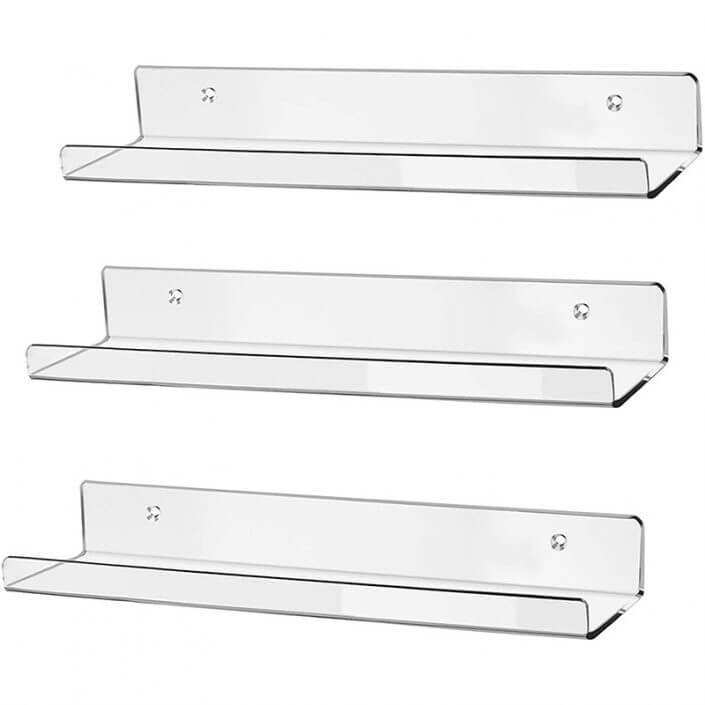 "Clear Acrylic Floating Shelves Display Ledge Organizer 15""x4"""