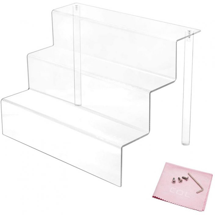 Clear Funko Pops Figures 3 Steps Acrylic Riser Display Stand Shelf -5