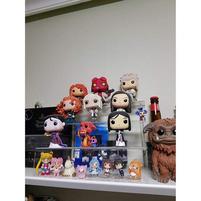 Clear Funko Pops Figures 3 Steps Acrylic Riser Display Stand Shelf -2