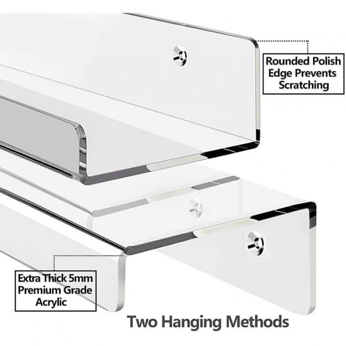 "Clear Acrylic Floating Shelves Display Ledge Organizer 15""x4"" -5"