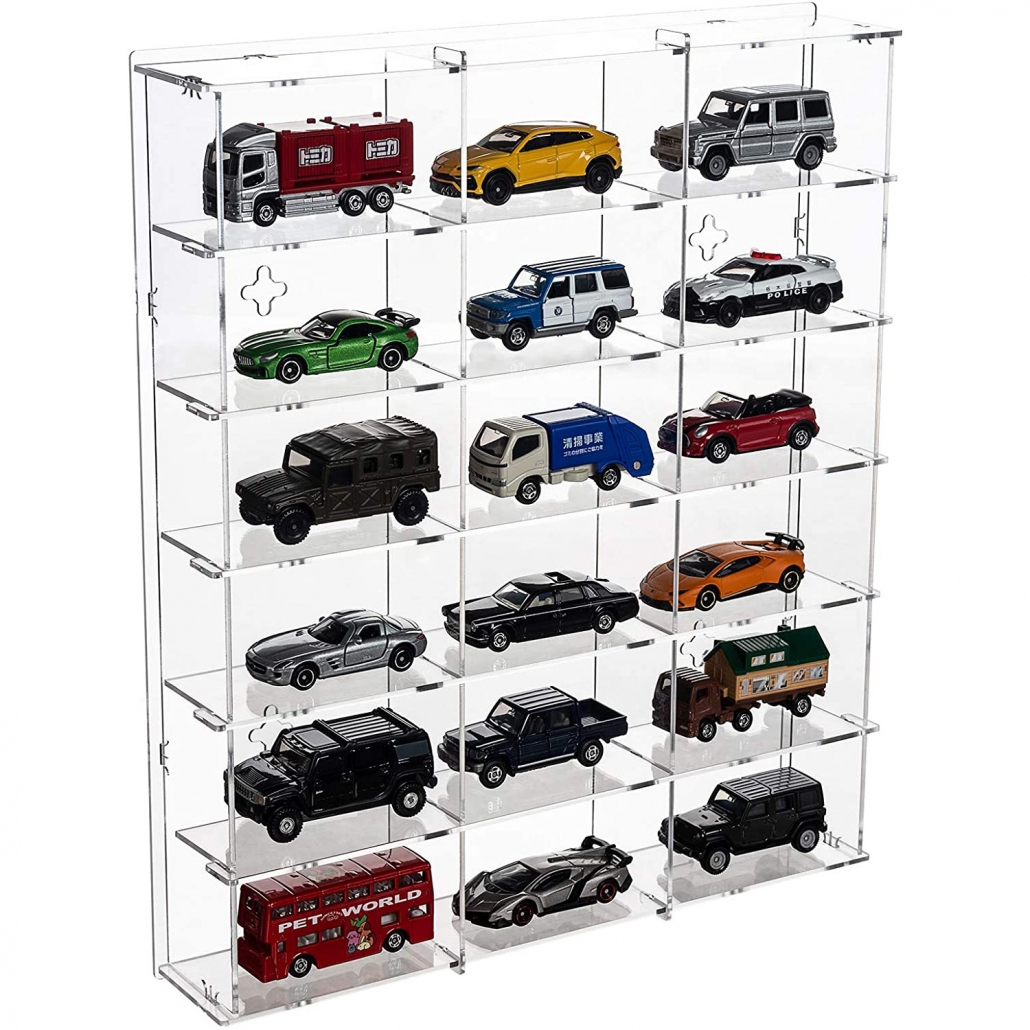 11.8W x 2.16D x 13.97H Assembly Acrylic Wall-Mounted Display Case for car collections