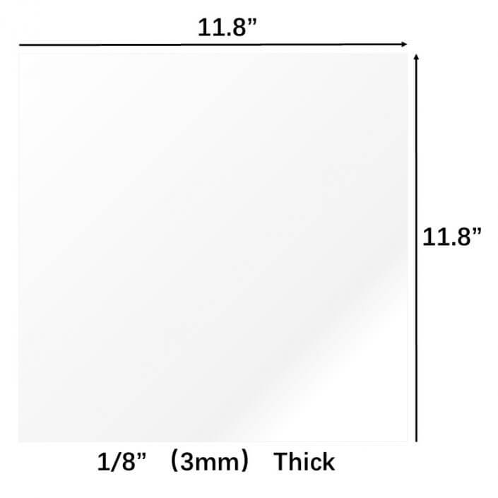 """Clear Acrylic Sheet 11.8""""x11.8"""" 3mm Thick"""
