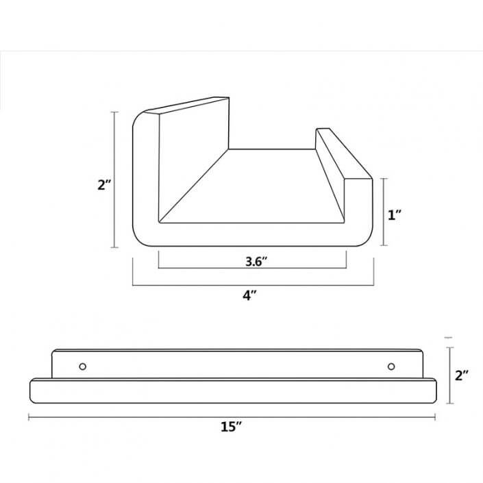 "Clear Acrylic Floating Shelves Display Ledge Organizer 15""x4"" -4"