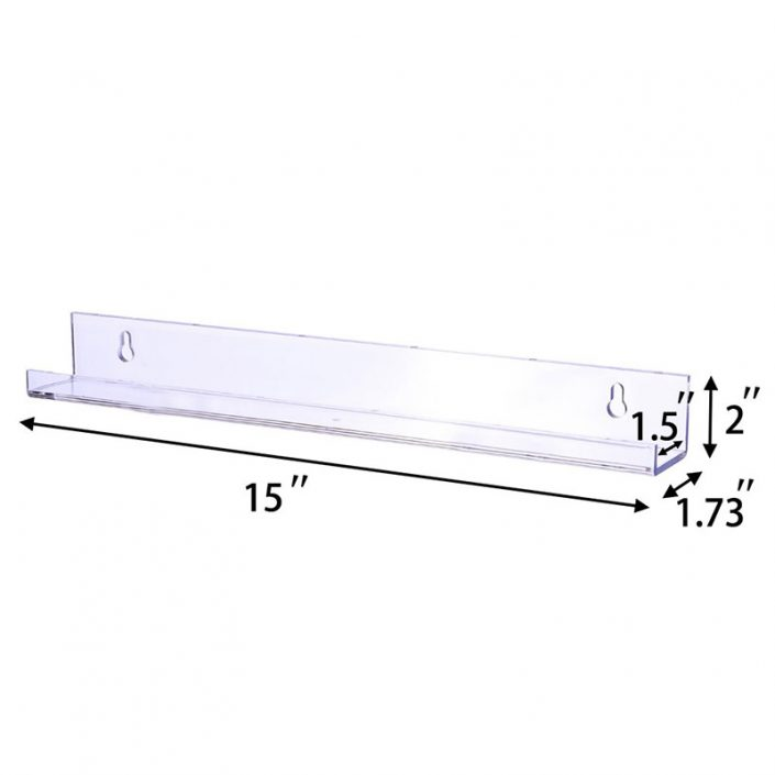 """Floating Bookshelf for Kids Room 15""""x2"""" Clear Modern Picture Ledge Toy Storage Wall Shelf"""