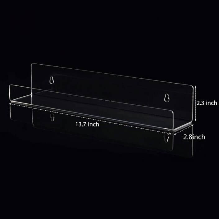 "Wall Mounted Acrylic Floating Bookshelf Ledge 14""X3"""