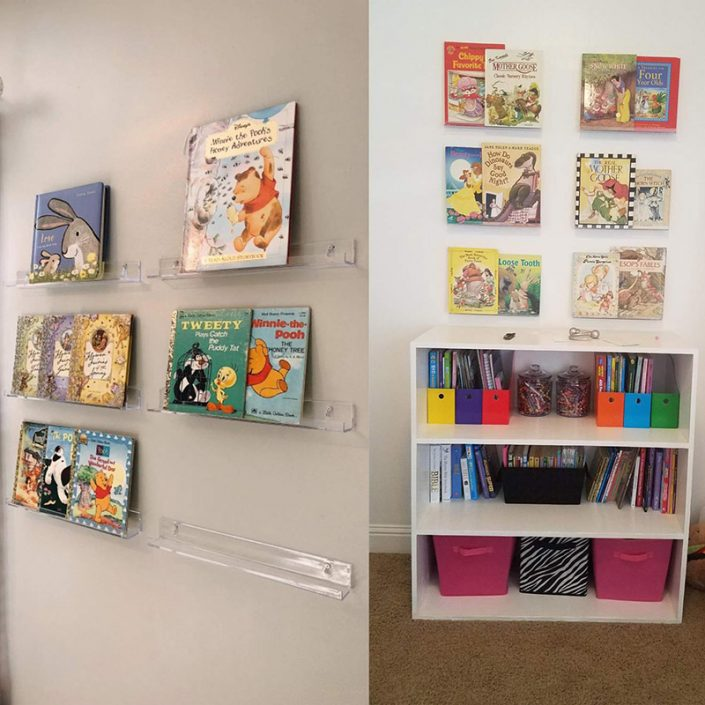 """Floating Bookshelf for Kids Room 15""""x2"""" Clear Modern Picture Ledge Toy Storage Wall Shelf -2"""